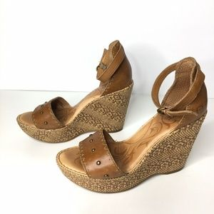 Born Brown Leather Wedges Ankle Strap Summer